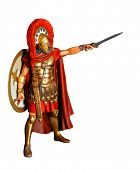stock photo of spartan  - Spartan warrior in armor with sword  - JPG