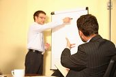 Two business brainstorming a new idea in a small conference room using a flip chart and easel.