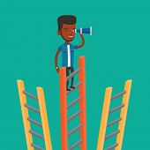 An african-american businessman searching for opportunities. Businessman using spyglass for searchin poster