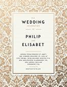 Vintage Wedding Invitation template. Modern design. Wedding Invitation design with damask background poster