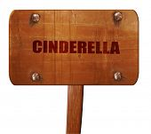 cinderella, 3D rendering, text on wooden sign poster