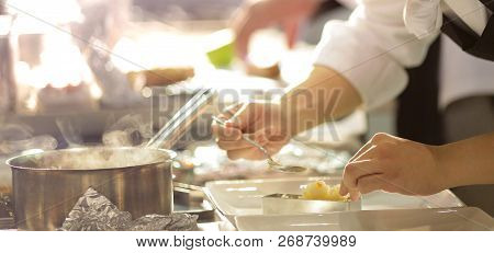 Chef Preparing Food Meal In