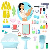 Hygiene Personal Care Vector Beautiful Woman Showering Hygienic Bath Products In Bathroom Illustrati poster