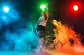 Hip-hop, Jazz-funk, Tecktonik, Waacking, Trance And Street Dances Concept - Young Woman Dancing Jazz poster