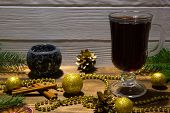 Hot Mulled Wine With Christmas Decoration, Sparkling Black Candlestick, Golden Christmas Balls, Gold poster