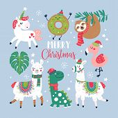 Christmas Holiday Cute Elements Set. Childish Print For Cards, Stickers, Apparel And Nursery Decorat poster