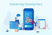 A Man And A Woman Stand Near A Big Smartphone. The Concept Mobile App Development For Business And C poster
