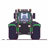 Front View Of Tractor For Farming. Line Style Pixel Perfect Vector Illustration. Agriculture Vehicle poster