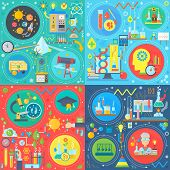Fundamental Science Square Concepts Set, Physics, Chemistry, Biology Flat Vector Design Vector Illus poster