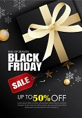 Black Friday Sale Flyer Template. Dark Background With Gold Ribbon. Use For Poster, Email, Newslette poster
