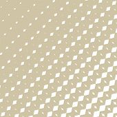 Vector Golden Halftone Pattern With Fading Diamond Shapes, Rhombuses, Diagonal Lines In Square Shape poster