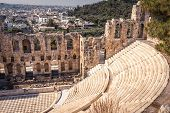 Odeon Of Herodes Atticus At The Acropolis, Athens, Greece. It Is One Of The Main Landmarks Of Athens poster