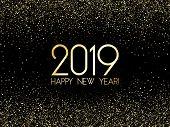 2019 Happy New Year Card, Gold Confetti Shimmer. Foil Texture Gold Glitter Confetti Sparkles Backdro poster