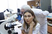 Health Care Researchers Working In Life Science Laboratory. poster