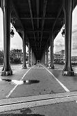 Pont De Bir Hakeim Metro Bridge In Black And White Paris France Paris France During Summer With Thic poster