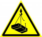 Triangle Sign: danger. Falling Objects. Sign: danger. Falling Objects On A Gray Background. poster