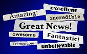 Great News Good Announcement Big Positive Result News Headlines 3d Illustration poster