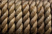 Texture Of Tightly Wound Rope Close-up. Low Key. Ideal For Background. Periodicity, Repetition, Rhyt poster