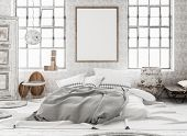 Mock-up Poster In Shabby Interior Background, Scandinavian Style, 3d Illustration poster