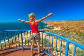 Happy Backpacker Woman At Eagle Gorge Lookout Platform In Kalbarri National Park, Western Australia. poster