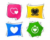 Heart Ribbon Icon. Timer Stopwatch Symbol. Love And Heartbeat Palpitation Signs. Geometric Colorful  poster