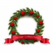 Fir Wreath With Red Christmas Balls, Golden Stars And Red Ribbon With Merry Christmas Text Isolated  poster