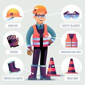 Worker With Safety Equipment. Man Wearing Helmet, Gloves Glasses, Protective Gear. Builder Protectio poster
