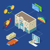 Banking Isometric Vector Concept With Bank Building, Coins, Online Services. Illustration Of Busines poster