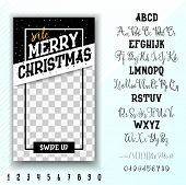 Merry Christmas Sale. Editable Stories Template And 2 Hand Made Font - Bold, Script. poster