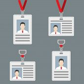 Id Card, Badge Or Access Card Set. Lanyard With Badge Collection. Vector Illustration. poster