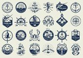 Vintage Nautical Labels Collection With Marine And Sea Elements In Monochrome Style Isolated Vector  poster