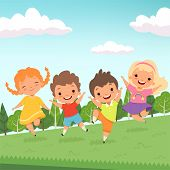 Party Jummping Characters. Cute Happy Childrens Jump And Playing At Playground Or Urban Park Vector  poster