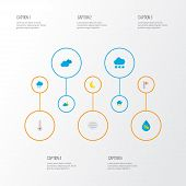 Climate Icons Flat Style Set With Crescent, Hail, Wind And Other Moon Elements. Isolated  Illustrati poster