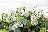 Bouquet Of White Flowers In Grey Background, Big Wedding Bouquet, Anniversary Flowers Bouquet. Weddi poster
