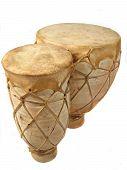 image of bongo  - vertical image of isolated bongo drums - JPG