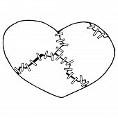 Broken Heart Of Two Halves. Broken Heart Icon. Vector Illustration Of A Split Stitched Heart. Hand D poster