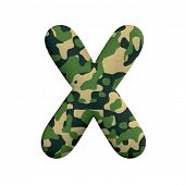 Army letter X - Capital 3d Camo font isolated on white background. This alphabet is perfect for crea poster