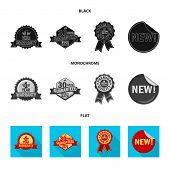 Vector Design Of Emblem And Badge Sign. Collection Of Emblem And Sticker Stock Symbol For Web. poster