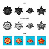 Vector Illustration Of Emblem And Badge Icon. Collection Of Emblem And Sticker Stock Symbol For Web. poster