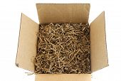 Close Up On Brown Cardboard Box With Packing Material poster