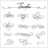 Beautiful Artistic Set Of Ink Swooshes. Hand Drawn Decorative Calligraphy Elements For Your Design.  poster