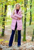 How To Rock Puffer Jacket Like Star. Fall Fashion Concept. Outfit Prove Puffer Coat Can Look Stylish poster
