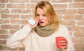 Cold And Flu Remedies. Remedies Should Help Beat Cold Fast. Woman Feels Badly Ill Sneezing. Girl In  poster
