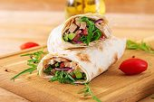 Tortillas Wraps With Chicken And Vegetables On  Wooden Background. Chicken Burrito. Healthy Food. poster