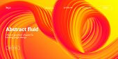 Landing Page Concept In Red, Orange And Yellow Color. Abstract Fluid Shape With Gradient. Movement O poster