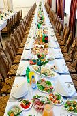 stock photo of picking tray  - banquet meal trays served on tables - JPG