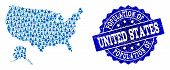 People Combination Of Blue Population Map Of Usa And Alaska And Scratched Seal Stamp. Vector Seal Wi poster
