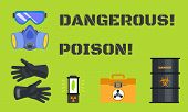 Dangerous Poison Concept Banner. Flat Illustration Of Dangerous Poison Concept Banner For Web Design poster