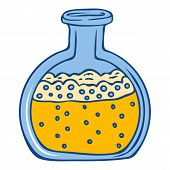Yellow Chemical Flask Icon. Hand Drawn Illustration Of Yellow Chemical Flask Icon For Web Design poster