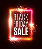 Colorful Black Friday Sale Background. Discount Card. Sales Festive Backdrop With Light Flash Firewo poster